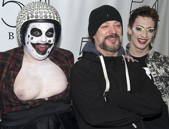 <p>Boy George (center) joins the concert&#39&#x3B;s stars, Samuel Buttery (left) and Matthew Rowland (right) for a post-performance photo.</p><br />(© David Gordon)