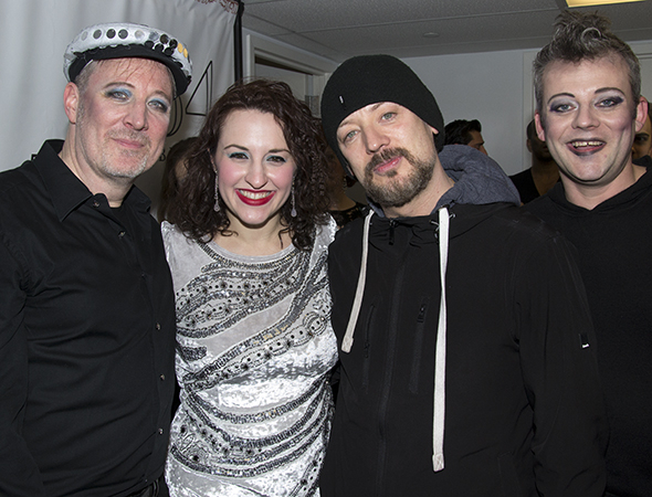 <p>Boy George (third from left) smiles alongside concert producers John McDaniel and Amanda Sales, as well as performer Jeremy Kushnier. </p><br />(© David Gordon)