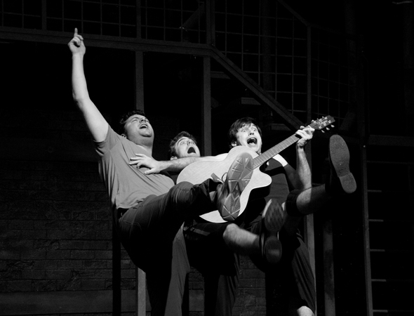 <p>Brad Nacht, Zach Cossman, and Marrick Smith in a musical number from the show.</p><br />(© David Gordon)