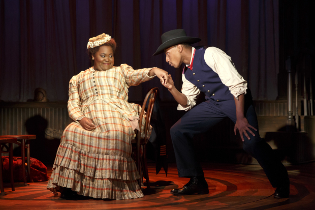 <p>Brandon Gill (right) puts the moves on Ashley D. Kelley.</p><br />(© Joan Marcus)