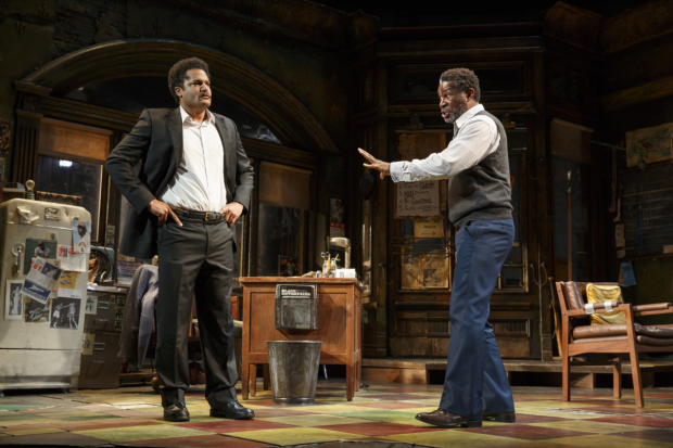 <p>Brandon J. Dirden as Booster and John Douglas Thompson as Becker in <em>August Wilson&#39&#x3B;s Jitney</em>.</p><br />(© Joan Marcus)
