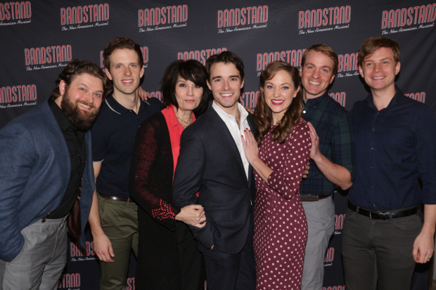 <p>Brandon James Ellis, Joe Carroll, Beth Leavel, Corey Cott, Laura Osnes, James Nathan Hopkins, and Geoff Packard are the show&#39&#x3B;s principal cast.</p><br />(© David Gordon)