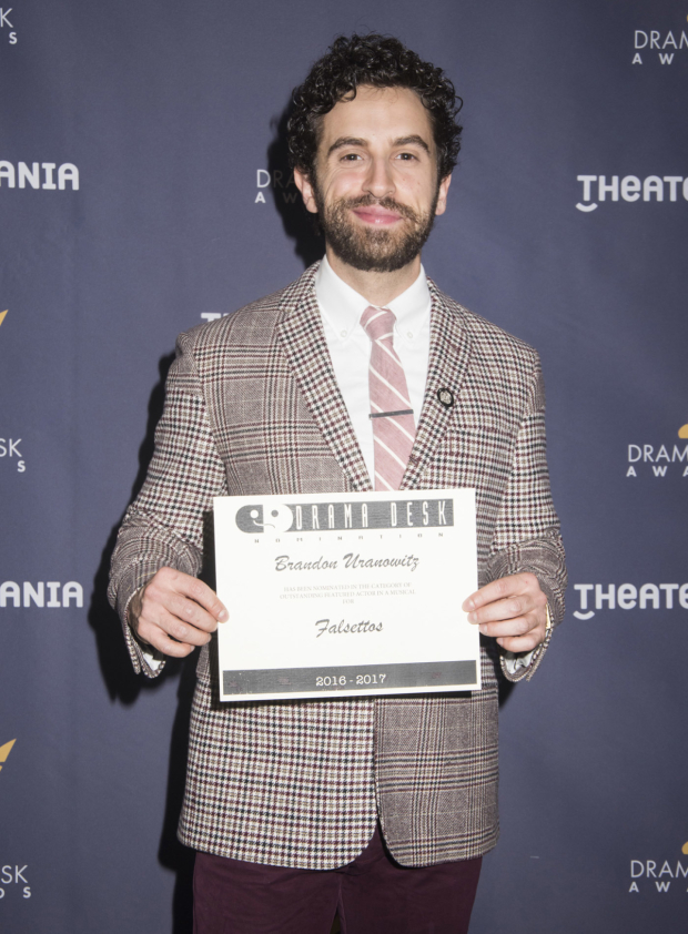 <p>Brandon Uranowitz, nominee for <em>Falsettos</em>.</p><br />(© Monica Simoes)