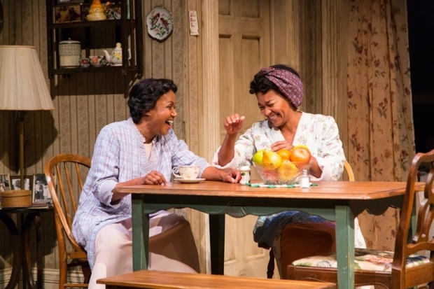 <p>Brenda Pressley and Crystal A. Dickinson have a laugh.</p><br />(© T. Charles Erickson)