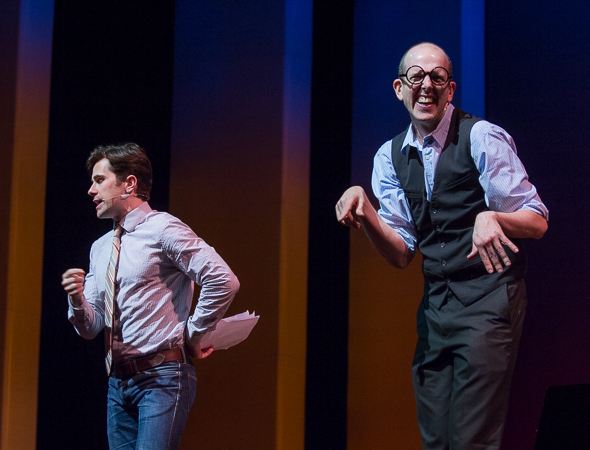 <p>Brett Ryback and Jeff Blumenkrantz take the stage to represent <em>Murder for Two</em>.</p><br />(© David Gordon)