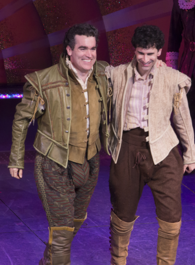 <p>Brian d&#39&#x3B;Arcy James and John Cariani come out for their opening-night bows.</p><br />(© David Gordon)