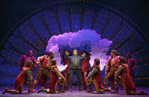 <p>Brian d&#39&#x3B;Arcy James and the cast of <em>Something Rotten!</em> in a glitzy Broadway moment.</p><br />(© Joan Marcus)