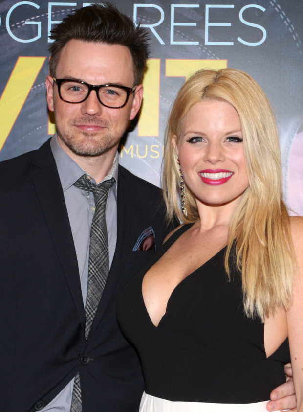<p>Brian Gallagher and Megan Hilty spend date night at the theater.</p><br />(© David Gordon)