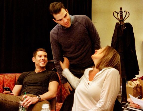 <p>Brian J. Smith, Zachary Quinto, and Cherry Jones chat during rehearsal.</p><br />© (Photo via celiakb)