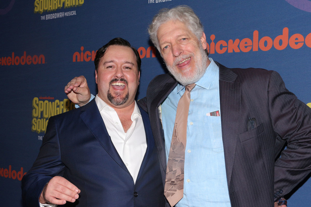 <p>Brian Ray Norris, who plays Mr. Krabs, takes a photo with screen counterpart Clancy Brown.</p><br />(© David Gordon)