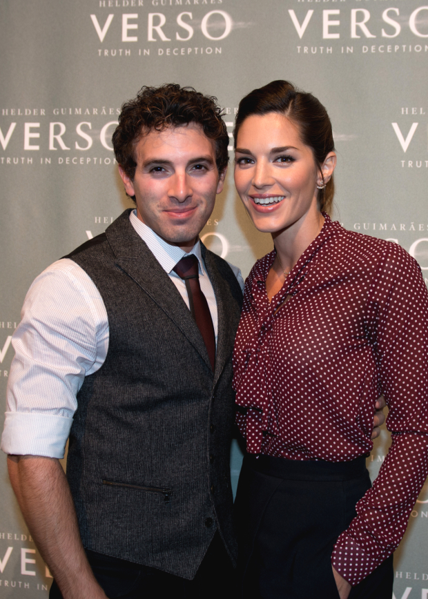 <p>Broadway couple Jarrod Spector and Kelli Barrett attend the opening night of <em>Verso</em>.</p><br />(© Allison Stock)