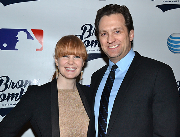 <p>Broadway couple Kate Baldwin and Graham Rowat spend date night with the Yankees.</p><br />(© David Gordon)