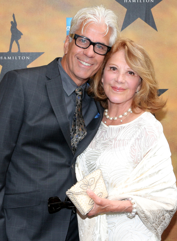 <p>Broadway couple Steve Bakunas and Linda Lavin are really excited to see <em>Hamilton</em>!</p><br />(© David Gordon)