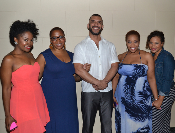 <p>Broadway Inspirational Voices members Trista Dollison, Crystal Monee Hall, Dennis Stowe, Angela Grovey, and Shayna Steele arrive at the party.</p><br />(© David Gordon)