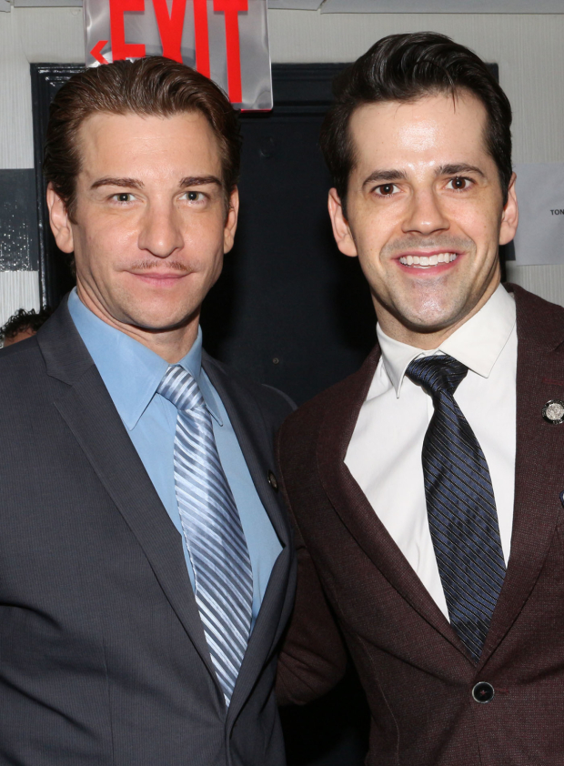 <p>Broadway musical men Andy Karl (<em>On the Twentieth Century</em>) and Robert Fairchild (<em>An American in Paris</em>) come together for a photo.</p><br />(© David Gordon)