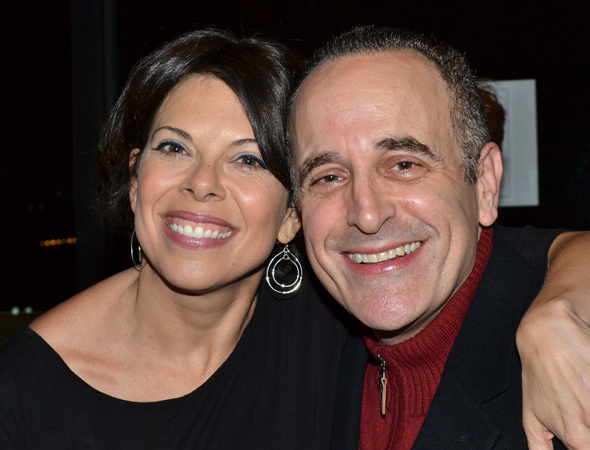 <p>Broadway pals Jill Abramovitz and Adam Heller are excited to see each other.</p><br />(© David Gordon)