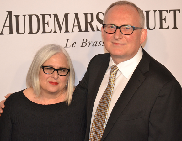 <p>Broadway photographer Joan Marcus celebrates her honorary Tony Award with husband and theatrical press agent Adrian Bryan-Brown.</p><br />(© David Gordon)