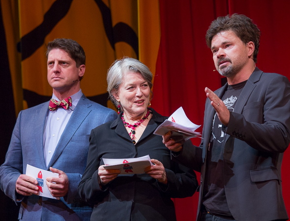 <p>Broadway veterans Christopher Sieber, Cass Morgan, and Hunter Foster take the stage.</p><br />(© David Gordon)
