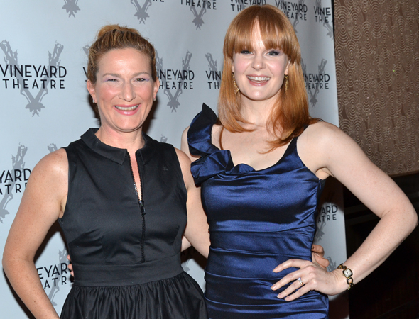 <p>Broadway vets Ana Gasteyer and Kate Baldwin pal around during the party.</p><br />(© David Gordon)