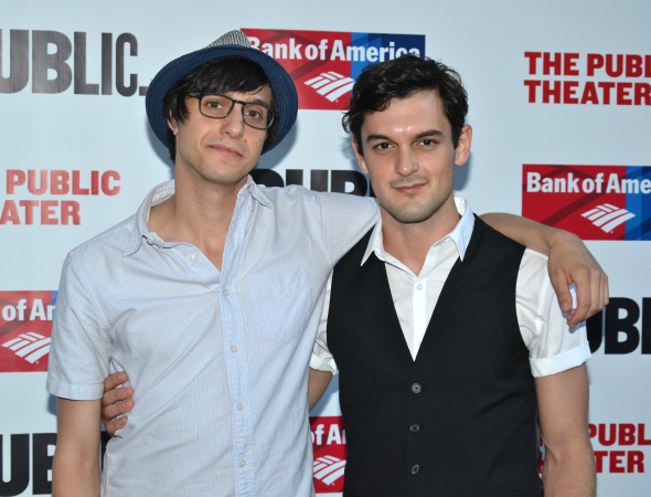 <p>Broadway vets Gideon Glick and Wesley Taylor take a photo together.</p><br />(©  David Gordon)
