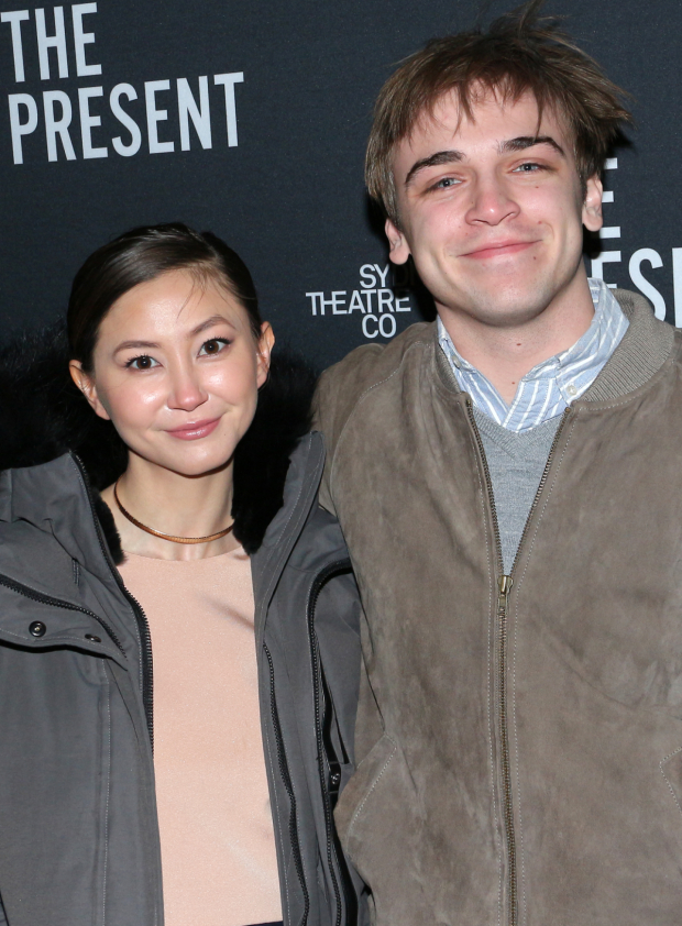 <p>Broadway vets Sean Grandillo (<em>Spring Awakening</em>) and Kimiko Glenn (<em>Waitress</em>) arrive for the show.</p><br />(© David Gordon)