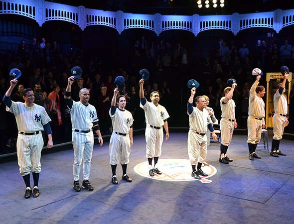 <p>Broadway&#39&#x3B;s Bronx Bombers tip their caps and take a curtain call on opening night.</p><br />(© David Gordon)