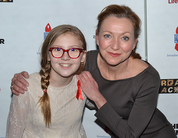 <p>Broadway&#39&#x3B;s Julie White (right) and television star Bebe Wood hosted the 2014 <em>Broadway Backwards</em> event.</p><br />(© David Gordon)
