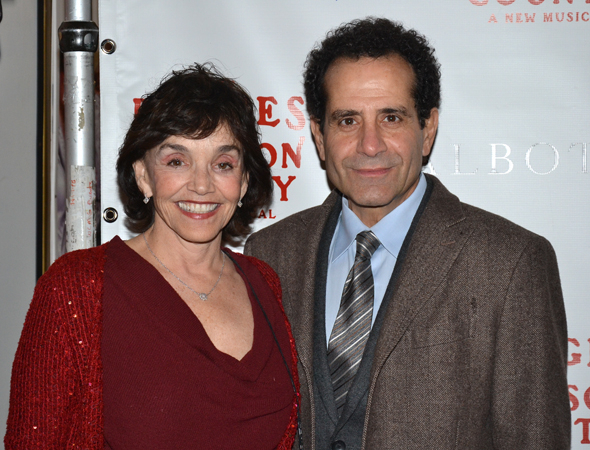 <p>Brooke Adams and Tony Shalhoub spend date night together before he stars in the Broadway premiere of <em>Act One</em> later this year.</p><br />(© David Gordon)