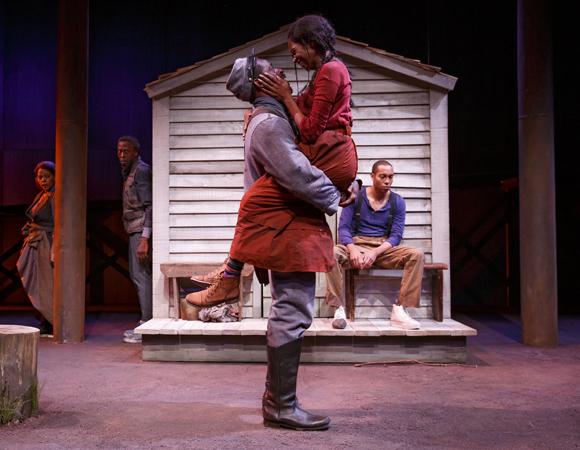 <p>Brown and Jules portray the romantic pair, Hero and Penny.  </p><br />(© Joan Marcus)
