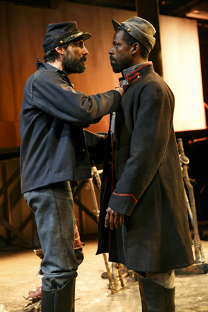 <p>Brown shares a scene in Part 2 with Louis Cancelmi, who plays a Union solider.</p><br />(© Joan Marcus)