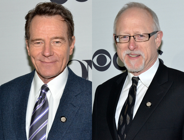 <p>Bryan Cranston (left) stars in <em>All the Way</em>, written by Robert Schenkkan (right). Both are nominated for their work.</p><br />(© David Gordon)
