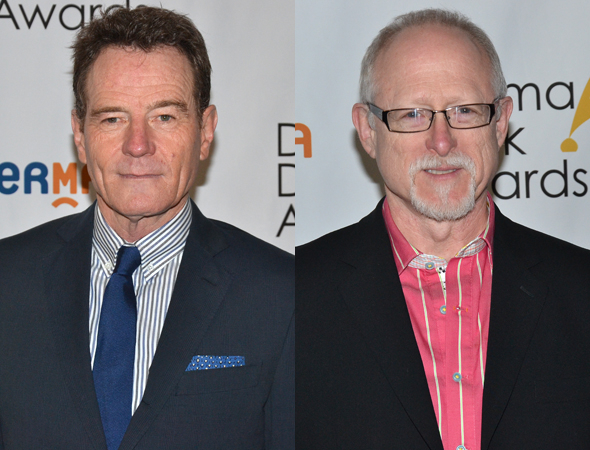 <p>Bryan Cranston, Outstanding Actor in a Play nominee for <em>All the Way</em>, with his nominated playwright Robert Schenkkan.</p><br />(© David Gordon)