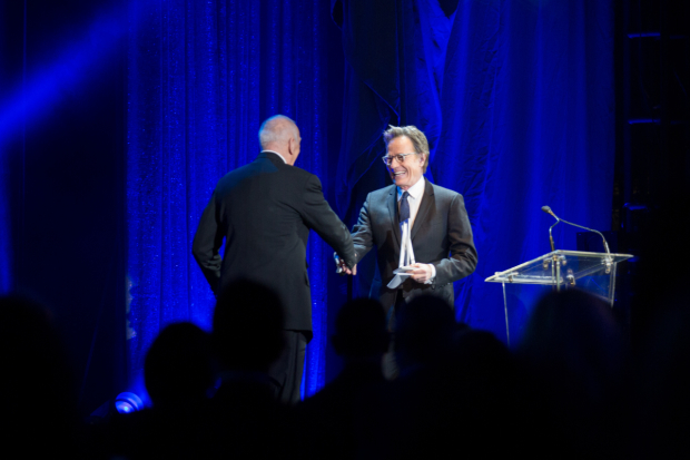 <p>Bryan Cranston (right) presenting the Jason Robards Award for Excellence in Theatre to Frank Langella.</p><br />(© Kelly Kollar)