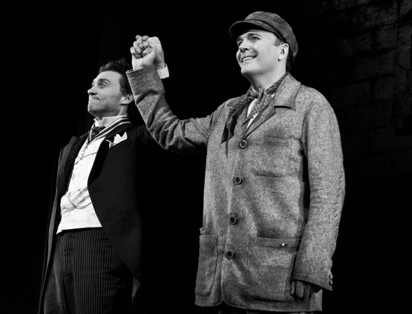 <p>Bryce Pinkham and Jefferson Mays take their bow.</p><br />(© David Gordon)