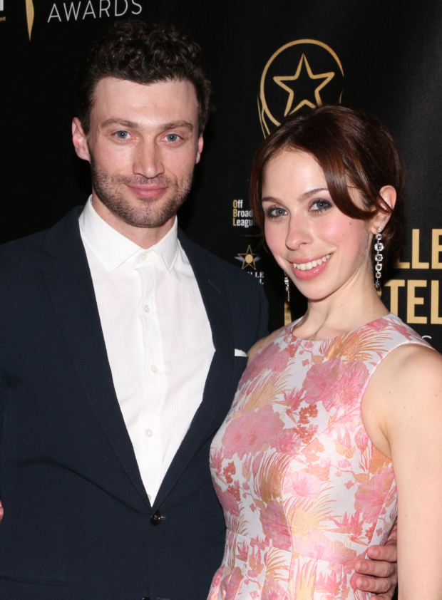 <p>Bryce Pinkham walks the red carpet with his date, <em>Into the Woods</em> nominee Emily Young.</p><br />(© David Gordon)