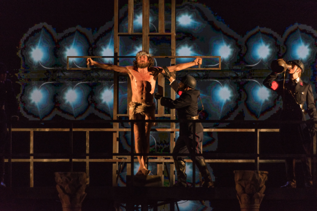 <p>Bryce Ryness at the crucifixion in <em>Jesus Christ Superstar</em>.</p><br />(photo provided by the production)