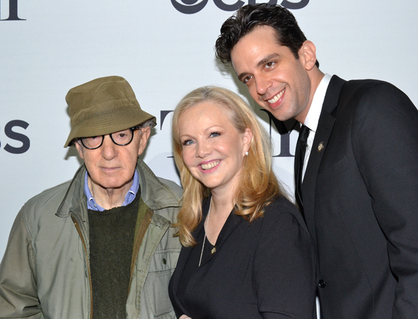 <p><em>Bullets Over Broadway</em> nominees Woody Allen, Susan Stroman, and Nick Cordero smile for the cameras.</p><br />(© David Gordon)