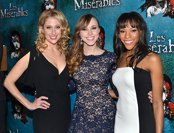 <p>Caissie Levy, Samantha Hill, and Nikki M. James take on the roles of Fantine, Cosette, and Éponine, respectively.</p><br />(© David Gordon)