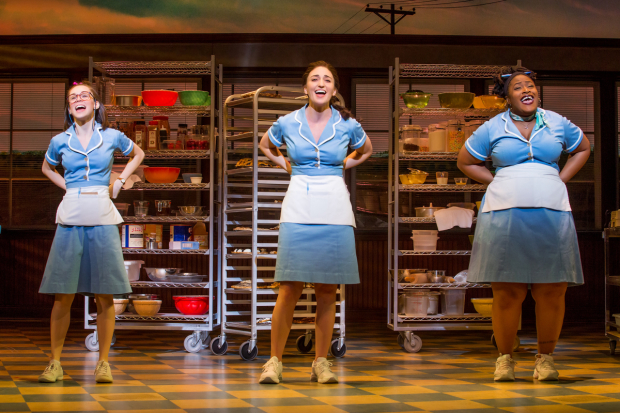 <p>Caitlin Houlahan, Sara Bareilles, and Charity Angél Dawson share the stage in a number from <em>Waitress</em>.</p><br />(© Jeremy Daniel)