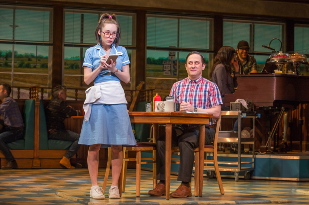 <p>Caitlin Houlahan takes Chris Fitzgerald&#39&#x3B;s order in a scene from <em>Waitress</em>.</p><br />(© Jeremy Daniel)