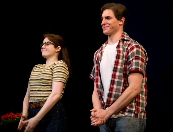 <p>Caitlin Kinnunen and Derek Klena play Francesca and Bud&#39&#x3B;s children, Carolyn and Michael.</p><br />(© David Gordon)