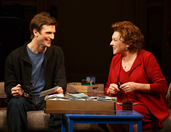 <p>Cal (Frederick Weller) and Katharine (Tyne Daly) share a moment in Terrence McNally&#39&#x3B;s <em>Mothers and Sons</em>, directed by Sheryl Kaller, at Broadway's John Golden Theatre.</p><br />(© Joan Marcus)