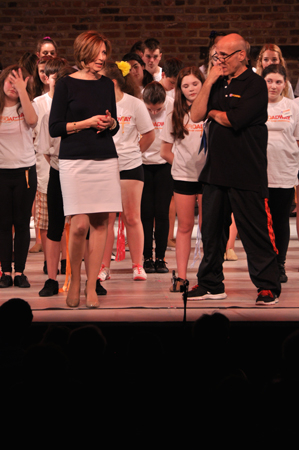 <p>Camp Broadway founder Susan Lee joins Jonathan Cerullo onstage to address the audience.</p><br />(© Genevieve Rafter Keddy)