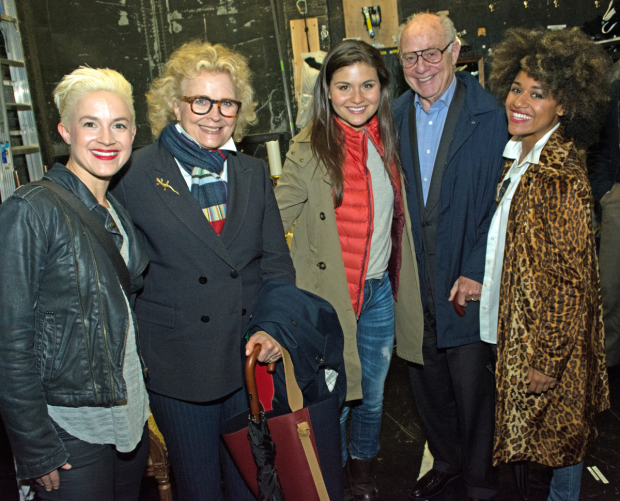 <p>Candice Bergen and her husband, Marshall Rose, meet Betsy Struxness, Phillipa Soo, and Ariana DeBose.</p><br />(© Kristin Goehring)
