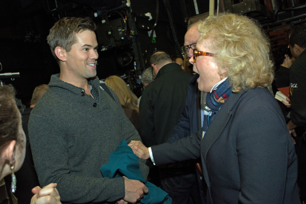<p>Candice Bergen is so excited to meet Andrew Rannells, whose first performance as King George she saw.</p><br />(© Kristin Goehring)