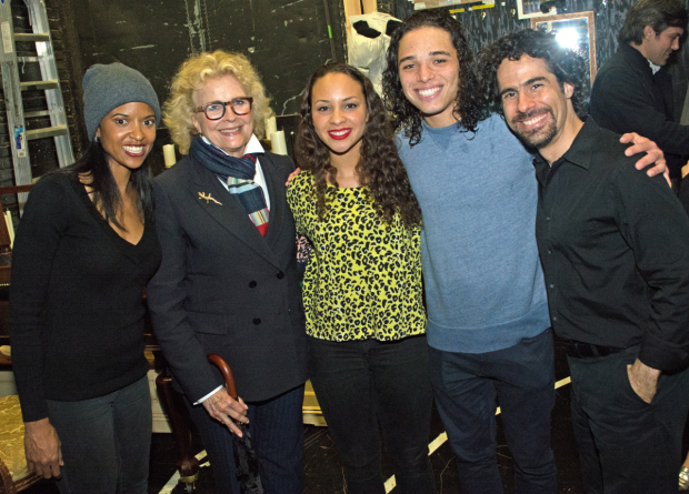 <p>Candice Bergen joins Renée Elise Goldsberry, Jasmine Cephas Jones, Anthony Ramos, and Alex Lacamoire for a snapshot.</p><br />(© Kristin Goehring)