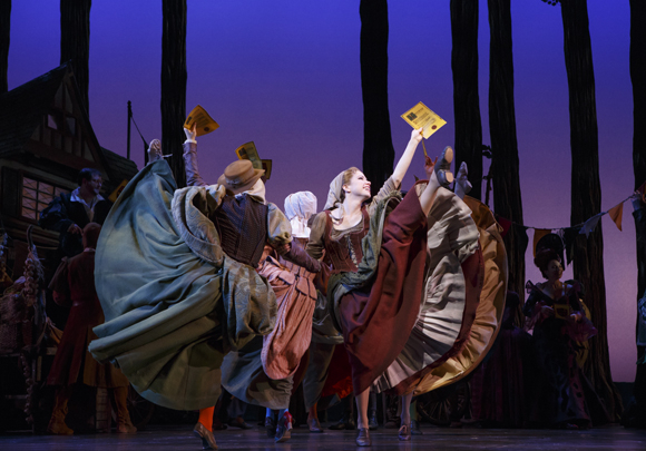 <p>Carly Rae Jepsen dances with the cast of <em>Cinderella</em> in excitement about the ball.</p><br />(© Carol Rosegg)
