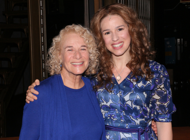 <p>Carole King and Chilina Kennedy share a photo in honor of the 1,000th performance of <em>Beautiful</em> on Broadway.</p><br />(© David Gordon)