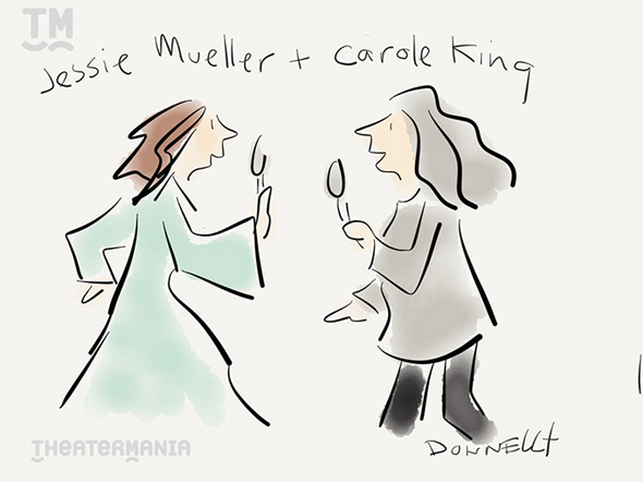 <p>Carole King duets with Jessie Mueller, <em>Beautiful</em>&#39&#x3B;s Tony winner, for their show&#39&#x3B;s performance.</p><br />(© Liza Donnelly)