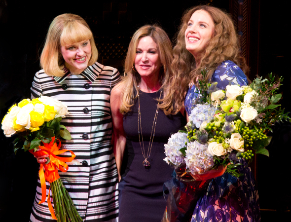 <p>Carole King&#39&#x3B;s daughter, Sherry Goffin Kondor, joins stars Anika Larsen and Jessie Mueller for an onstage hug.</p><br />(© David Gordon)